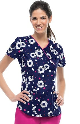 code happy Women's Mock Wrap Daisy Print Scrub Top