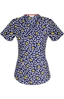code happy™ Women's Mock Wrap Mod Floral Print Scrub Top