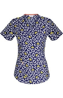 code happy™ with Antimicrobial Certainty Women's Mock Wrap Mod Print Scrub Top
