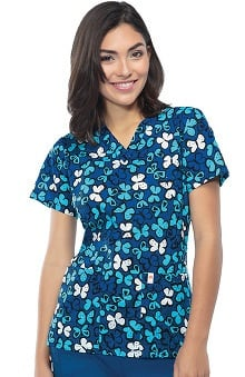 code happy™ Women's V-Neck Butterfly Print Scrub Top