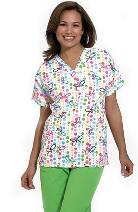 Scrub H.Q. by Cherokee Women's V-Neck 2 Pocket Butterfly Dots Print Scrub Top
