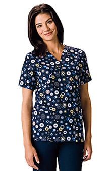 Scrub H.Q. by Cherokee Women's V-Neck 2 Pocket Dots Wonderful Print Scrub Top
