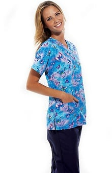 Scrub H.Q. by Cherokee Women's V-Neck 2 Pocket Fly By Night Print Scrub Top
