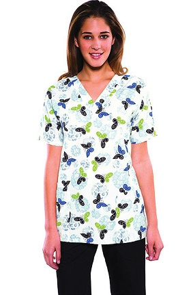 Scrub H.Q. by Cherokee Women's V-Neck 2 Pocket Over The Moon Print Scrub Top