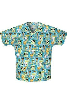 Scrub H.Q. by Cherokee Women's Discount V-Neck 2-Pocket Tunic Style Pet Print Scrub Top