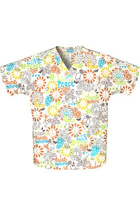 Scrub H.Q. by Cherokee Women's Discount V-Neck 2-Pocket Tunic Style Print Scrub Top