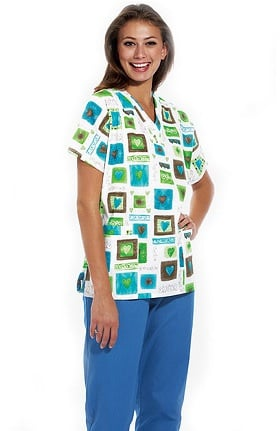 Scrub H.Q. by Cherokee Women's Discount V-Neck 2-Pocket Tunic Style Heart Print Scrub Top
