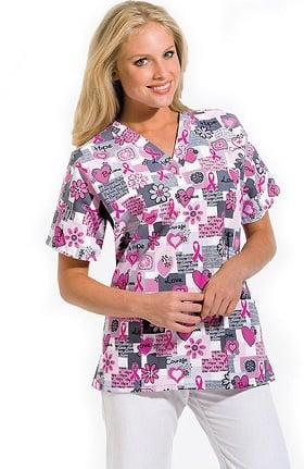 Scrub H.Q. by Cherokee Women's Discount V-Neck 2-Pocket Tunic Style Breast Cancer Awareness Print Scrub Top