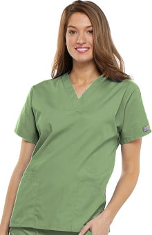 MED: Cherokee Workwear Women's V-Neck 2 Pocket Solid Scrub Top