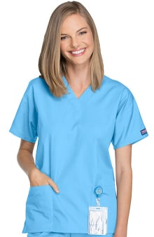 clearance750: Cherokee Workwear Women's V-Neck 2 Pocket Solid Scrub Top