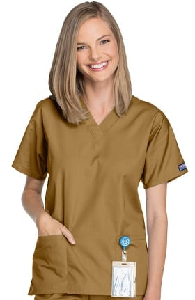 Clearance Cherokee Workwear Women's V-Neck 2 Pocket Solid Scrub Top