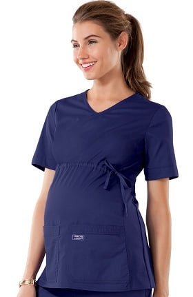 Core Stretch by Cherokee Workwear Women's Maternity Knit Panel V-Neck Solid Scrub Top
