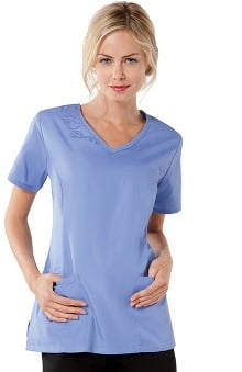Cherokee Workwear Women's Embroidery V-Neck Solid Scrub Top