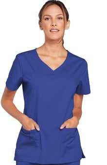 XXS: Core Stretch by Cherokee Workwear Women's V-Neck Solid Scrub Top