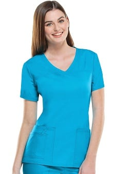 Core Stretch by Cherokee Workwear Women's V-Neck Yoke Solid Scrub Top