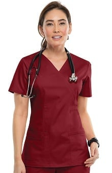 XXS: Core Stretch by Cherokee Workwear Women's Mock Wrap Solid Scrub Top