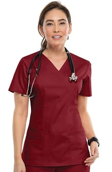 MED: Core Stretch by Cherokee Workwear Women's Mock Wrap Solid Scrub Top