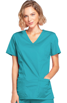 Core Stretch by Cherokee Workwear Women's Mock Wrap Princess Seam Solid Scrub Top