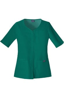 Cherokee Workwear Women's Button Up Solid Scrub Top
