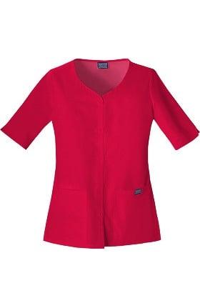 Cherokee Workwear Women's Button Up Solid Scrub Top