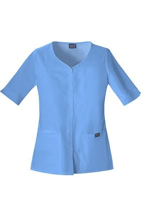Clearance Cherokee Workwear Originals Women's Button Up Solid Scrub Top