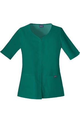 Clearance Cherokee Workwear Women's Button Up Solid Scrub Top