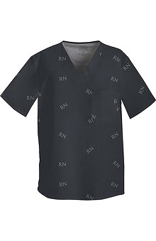 Clearance Core Stretch by Cherokee Workwear Men's V-Neck Logo Print Scrub Top