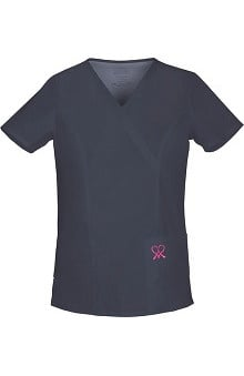 pink ribbon scrubs: Hope For A Cure by Cherokee Workwear Women's Mock Wrap Top With Breast Cancer Ribbon