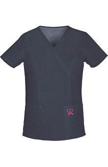 Clearance Hope For A Cure by Cherokee Workwear Women's Mock Wrap Solid Scrub Top With Breast Cancer Ribbon