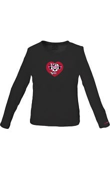 Clearance Cherokee Workwear Women's Black Long Sleeve Dog Print Underscrub