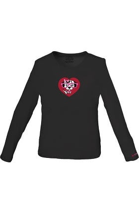 Clearance Cherokee Workwear Originals Women's Black Long Sleeve Dog Print Underscrub