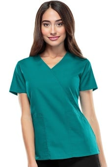 Cherokee Workwear Women's Mock Wrap Solid Scrub Top