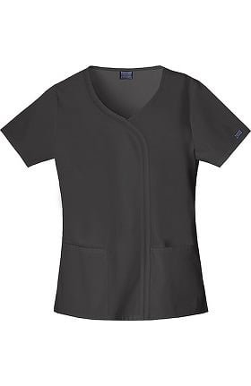 Cherokee Workwear Women's V-Neck Mock Wrap Solid Scrub Top