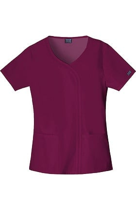 Clearance Cherokee Workwear Women's V-Neck Mock Wrap Solid Scrub Top