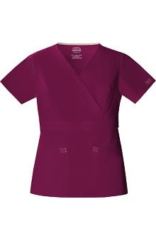Core Stretch by Cherokee Workwear Women's 2-Tone Mock Wrap Solid Scrub Top