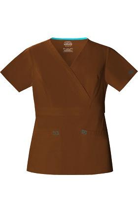 Clearance Core Stretch by Cherokee Workwear Women's 2-Tone Mock Wrap Solid Scrub Top