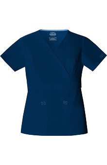 Clearance Core Stretch by Cherokee Workwear Women's 2-Tone Mock Wrap Solid Scrub Top