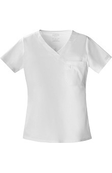 Clearance Core Stretch by Cherokee Workwear Women's 2-Tone V-Neck Solid Scrub Top