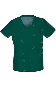 Clearance Core Stretch by Cherokee Workwear Women's V-Neck Logo Print Scrub Top