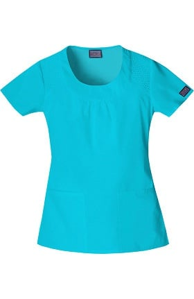 Cherokee Workwear Originals Women's Scoop Neck Solid Scrub Top