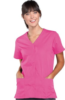 XXS: Cherokee Workwear Women's Snap Front 2-Pocket Solid Scrub Top