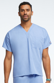 MED: Cherokee Workwear Unisex V-Neck 1-Pocket Solid Scrub Top