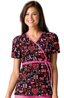 Scrub H.Q. by Cherokee Women's Mock Wrap BCA Print Scrub Top