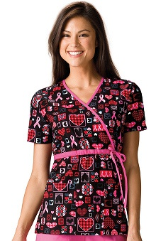 Clearance Scrub H.Q. by Cherokee Women's Mock Wrap BCA Print Scrub Top