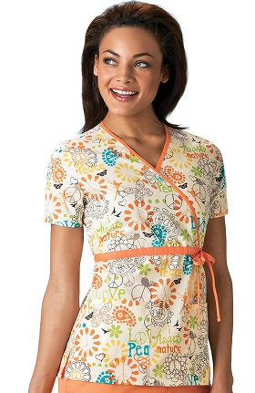 Clearance Scrub H.Q. by Cherokee Women's Mock Wrap Flower Print Scrub Top