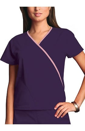 Cherokee Workwear Women's Mini Wrap Contrast Solid Scrub Top