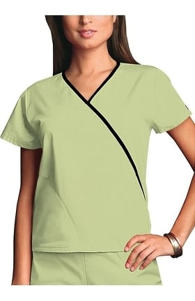 Clearance Cherokee Workwear Women's Mini Wrap Contrast Solid Scrub Top