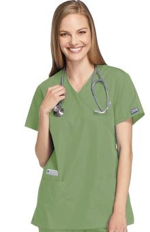 catplus: Cherokee Workwear Women's Mock Wrap Tunic Solid Scrub Top
