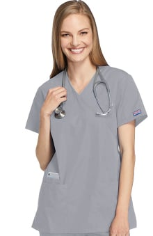 Cherokee Workwear Women's Mock Wrap Tunic Solid Scrub Top