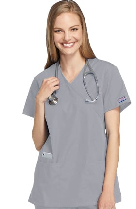 Cherokee Workwear Originals Women's Mock Wrap Tunic Solid Scrub Top